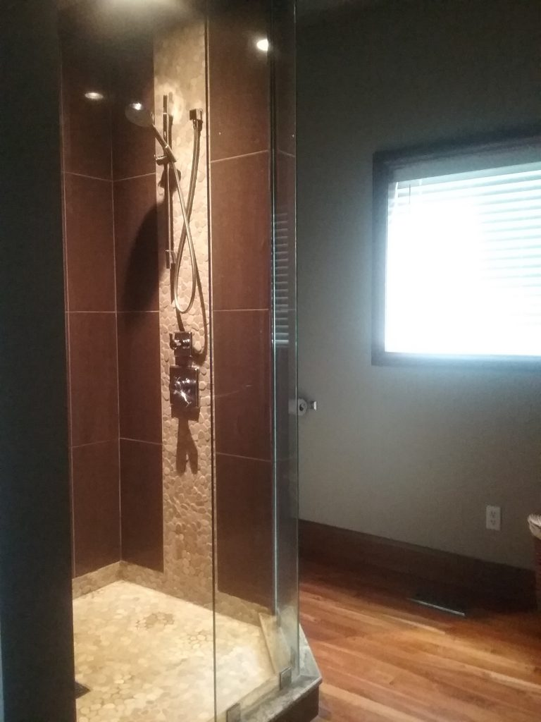 River Rock Accent in Shower